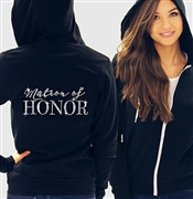 Matron Of Honor Modern Fleece Hoodie: Black