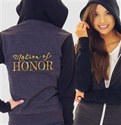 """Matron of Honor"" Charcoal & Black Fleece Hoodie 