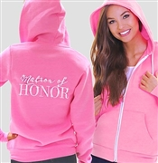 """Matron of Honor"" Pink Fleece Hoodie 