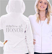 Matron Of Honor Modern Fleece Hoodie: White