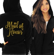 Maid of Honor w/Diamond Gold Rhinestud Lightweight Hoodie