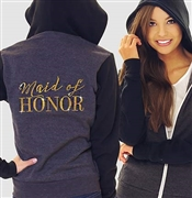 """Maid of Honor"" Modern Fleece Hoodie: Charcoal & Black 