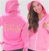 Maid Of Honor Modern Fleece Hoodie: Electric Pink