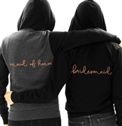 Maid of Honor or Bridesmaid Rose Gold Fleece Hoodie | Bridal Hoodies | RhinestoneSash.com