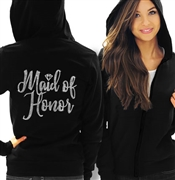 Maid of Honor with Diamond Rhinestone Lightweight Hoodie