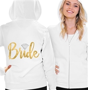 Bride w/Diamond Fleece Hoodie | Bridal Hoodies | RhinestoneSash.com