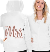 The Mrs. EST Glam Rose Gold Lightweight Hoodie | Bridal Hoodies | RhinestoneSash.com