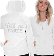 Wife of the Party Lightweight Hoodie | Bridal Hoodies | RhinestoneSash.com