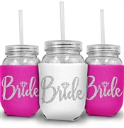 Bride w/Diamond Silver Glitter Sipping Jar