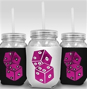Hot Pink Dice Sipping Jar