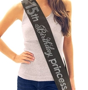 15th Birthday Princess Rhinestone Sash
