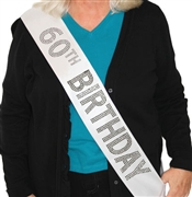 """60th Birthday"" Rhinestone Sash 