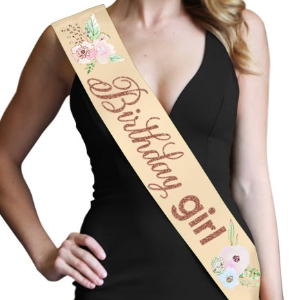 Birthday Girl Watercolor Rose Gold Glitter Sash