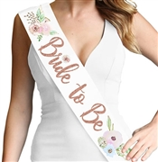 Watercolor Bride to Be Rose Gold Glitter Sash | Bridal Sashes | RhinestoneSash.com