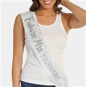 Silver & White Luxury Lace 'Future Mrs.' Custom Sash