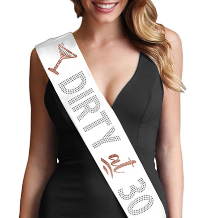Dirty at 30 Rose Gold Glitter & Rhinestone Sash