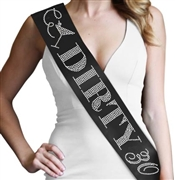 """Dirty 30"" Rhinestone Sash 