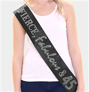 """Fierce, Fabulous & 45"" Rhinestone Sash 