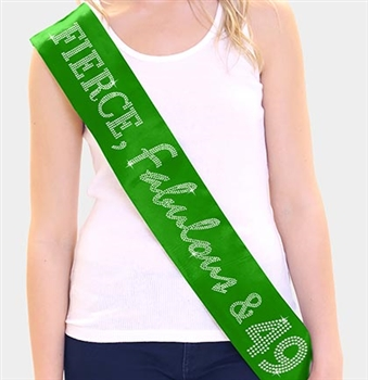 """Fierce, Fabulous & 49"" Rhinestone Sash 