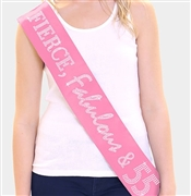 """Fierce, Fabulous & 55!"" Rhinestone Sash 