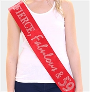 """Fierce, Fabulous & 59!"" Rhinestone Sash 