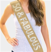 50 & Fabulous Foil and Rhinestone Sash | Birthday Sashes | RhinestoneSash.com