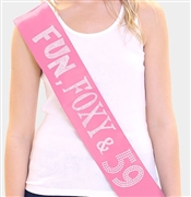 Fun, Foxy & 59 Birthday Rhinestone Sash