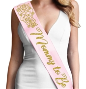 Gold Floral Mommy To Be Gold Glitter Sash