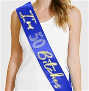 I'm 50 Bitches Gold Foil & Rhinestone Sash | Birthday Sashes | RhinestoneSash.com