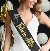 Future Mrs. with Ring Gold Foil & Rhinestone Sash | Bridal Sashes | RhinestoneSash.com