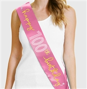 Gold Happy 100th Birthday Foil & Rhinestone Sash | Birthday Sashes | RhinestoneSash.com