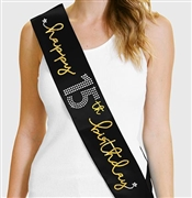 Gold Happy 15th Birthday Foil & Rhinestone Sash | Birthday Sashes | RhinestoneSash.com
