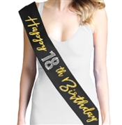 Gold Happy 18th Birthday Foil & Rhinestone Sash | Birthday Sashes | RhinestoneSash.com