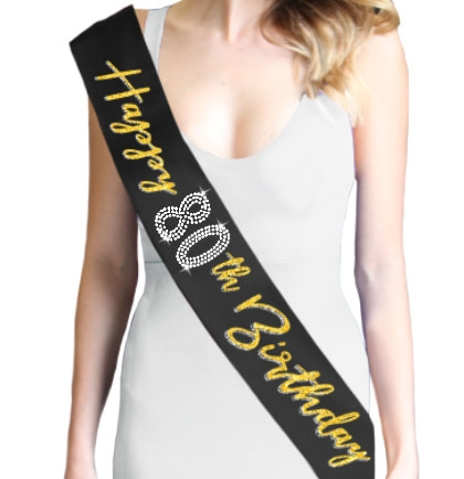Gold Happy 80th Birthday Foil & Rhinestone Sash | Birthday Sashes | RhinestoneSash.com