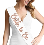 Bride to Be w/Diamond Rose Gold Sash | Bridal Sashes | RhinestoneSash.com