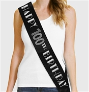 Happy 100th Birthday Foil & Rhinestone Sash | Birthday Sashes | RhinestoneSash.com
