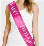 Happy 18th Birthday Foil & Rhinestone Sash | Birthday Sashes | RhinestoneSash.com