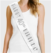 Happy 40th Birthday Foil & Rhinestone Sash | Birthday Sashes | RhinestoneSash.com