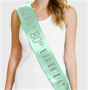 Happy 80th Birthday Foil & Rhinestone Sash | Birthday Sashes | RhinestoneSash.com