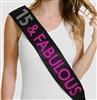 15 & Fabulous Hot Pink Foil and Rhinestone Sash | Birthday Sashes | RhinestoneSash.com