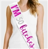 I'm 50 Bitches Pink Foil & Rhinestone Sash | 50th Birthday Sashes | RhinestoneSash.com