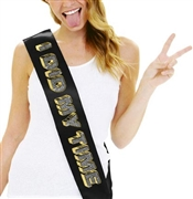 I Did My Time Rhinestone & Gold Foil Sash
