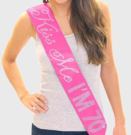 """Kiss Me I'm 70!"" Rhinestone Sash 