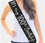 It's My 100th Birthday Rhinestone Sash