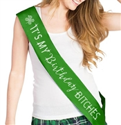 It's My Birthday Bitches with Clover Rhinestone Sash | Birthday Sashes | RhinestoneSash.com