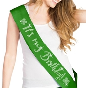 It's My Birthday with Clovers Rhinestone Sash | Birthday Sashes | RhinestoneSash.com