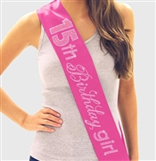 Pink Gem 15th Birthday Girl Rhinestone Sash