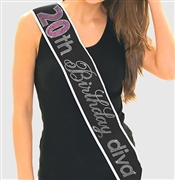 Pink Gem 20th Birthday Diva Rhinestone Sash