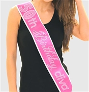 Pink Gem 50th Birthday Diva Rhinestone Sash