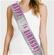 Pink Happy 15th Birthday Foil & Rhinestone Sash | Birthday Sashes | RhinestoneSash.com